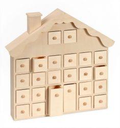 Adventi naptár natúr fa  házikó 24 fiókos