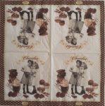 szalvéta 12C_chocolate  vintage